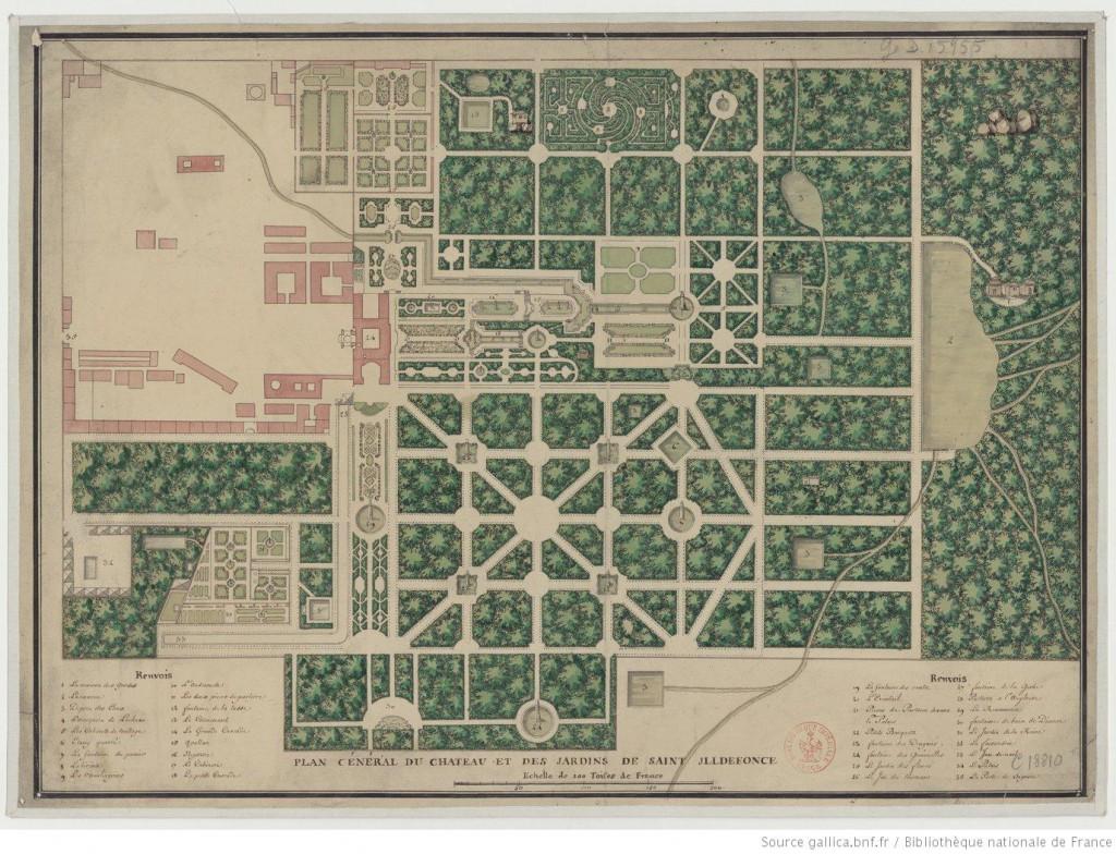 Plano de los jardines de la Granja 1725. Biblioteca Nacional de Francia